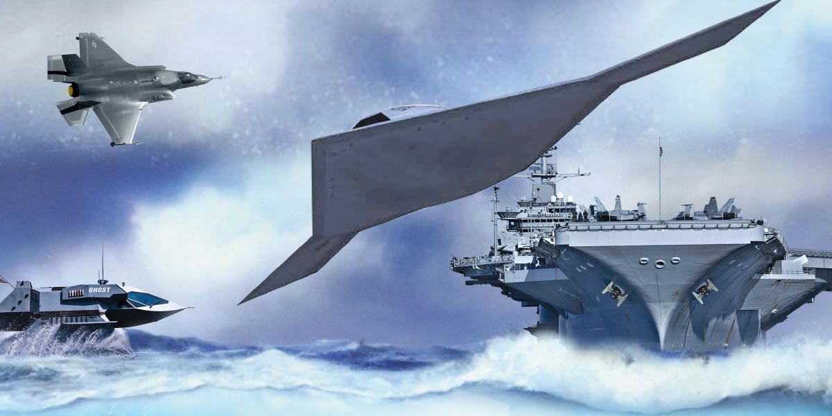 Stylized image of Navy carrier, stealth aircraft, and an amphibious ship.