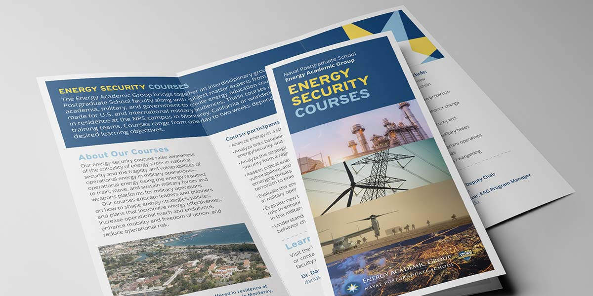 Image of a printed and folded Energy Security Course brochure